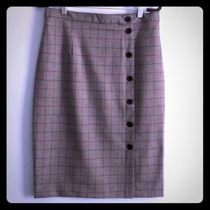 H&M Checkered Pencil Skirt with Button Details
